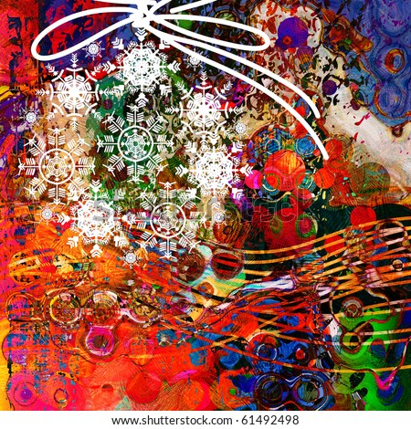 art graphic christmas bright rainbow background with snowflakes balls and space for text