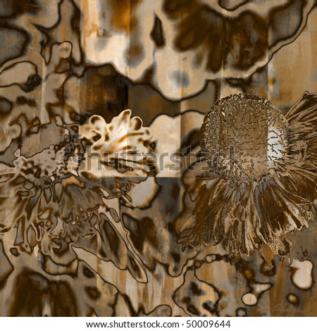 art graphic floral grunge blurred background in brown, beige and white colors - stock photo
