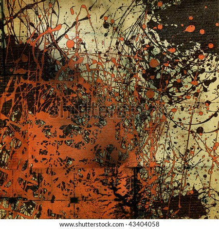 art graphic grunge beige background with orange and black inkblots - stock photo