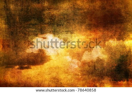 Art grunge background made of clouds in sepia tones. - stock photo