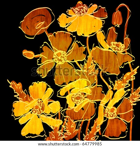 art grunge floral background card in gold, brown and black  - stock photo