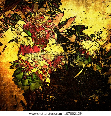 art grunge floral vintage background - stock photo