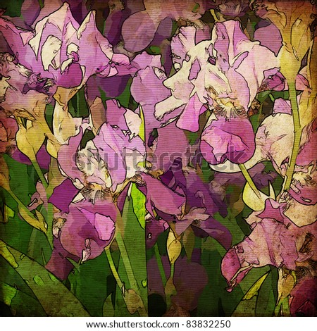 art grunge floral vintage background with gladiolus, for family holidays