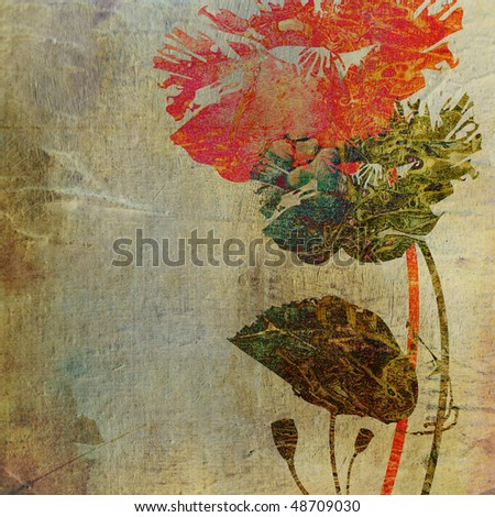 art grunge floral vintage background with space for text - stock photo