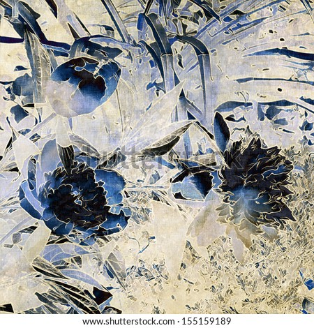art grunge floral vintage blue background with peonies - stock photo