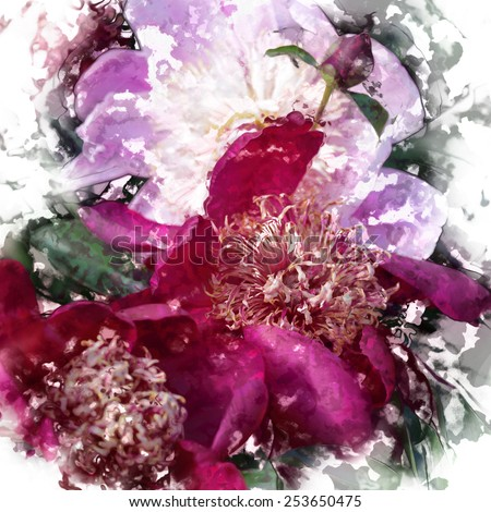 art grunge floral vintage isolated on white watercolor background with pink and purple peonies - stock photo