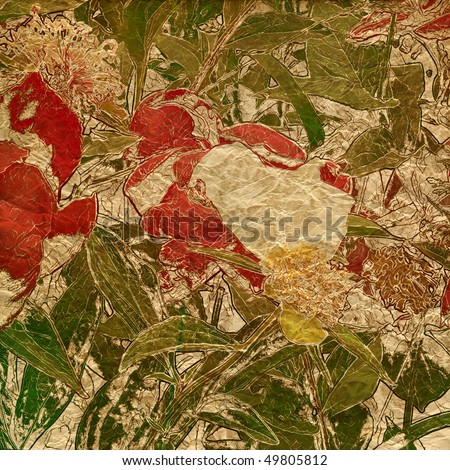 art grunge floral vintage paper textured autumn watercolor background with old peonies in beige, green, brown and red colors - stock photo