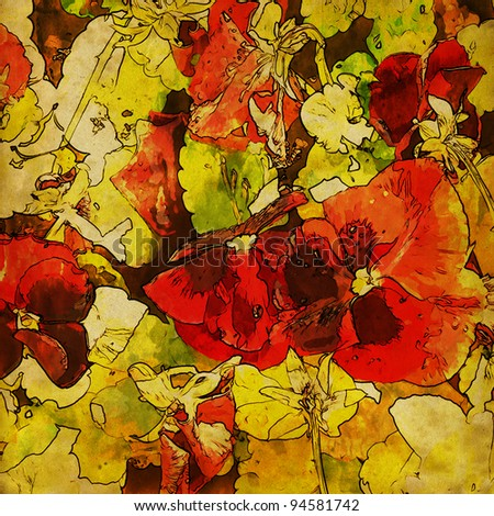 art grunge floral vintage watercolor and graphic background with red violets on yellow and green fond