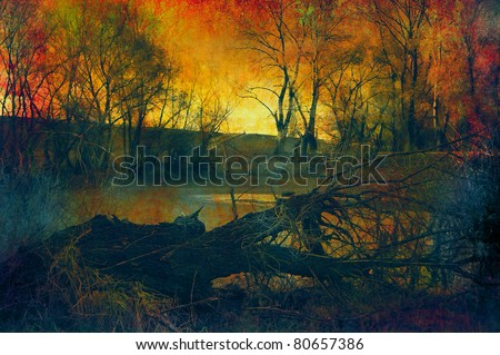 Art grunge landscape showing fallen tree in the forest at sunset.