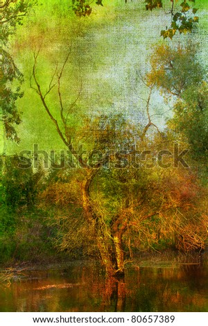 Art grunge landscape showing tree in the middle of the flooded forest. - stock photo
