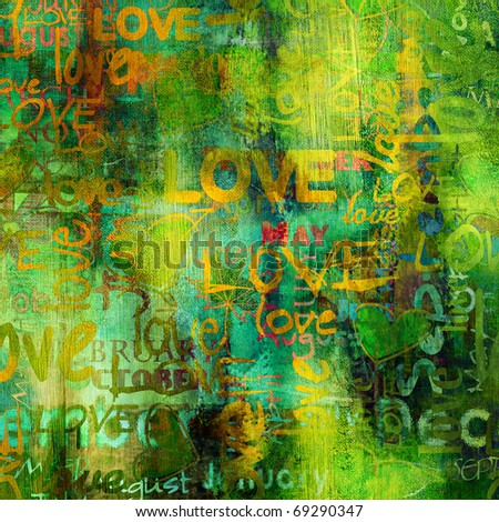 art grunge spring vintage textured background in bright green, orange and gold yellow colors - stock photo