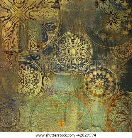 art grunge stylized damask floral pattern background in golden and green colors - stock photo