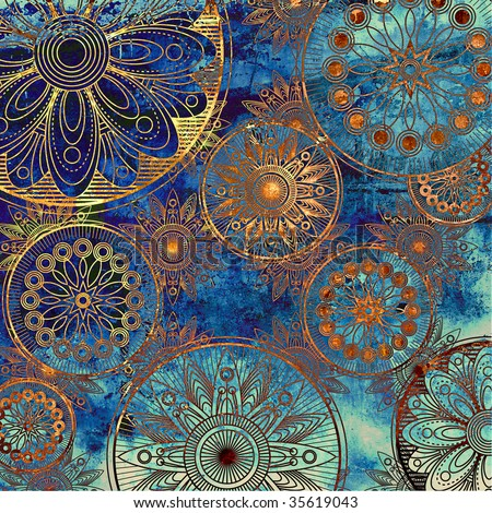 art grunge stylized damask pattern with circles floral ornament in blue, orange and gold colors - stock photo