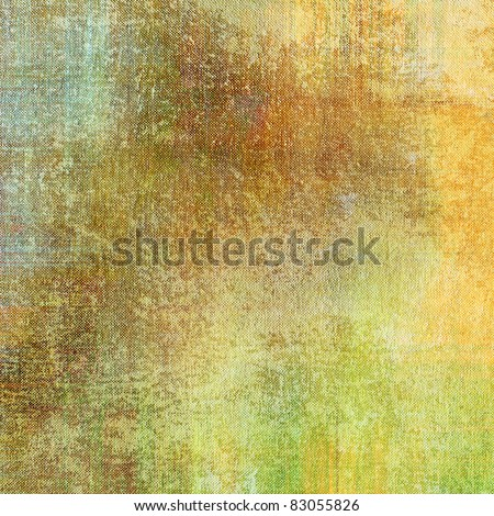 art grunge vintage fabric textured background in old gold, orange brown, green and beige color with blots