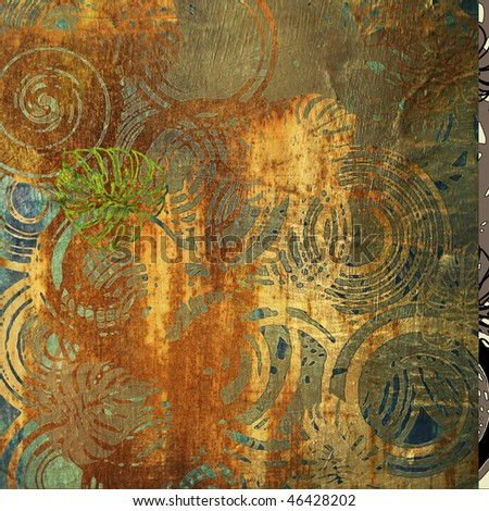 art grunge vintage metallic gold textured background with geometric and leaves pattern, rust, cooper and bronze blots