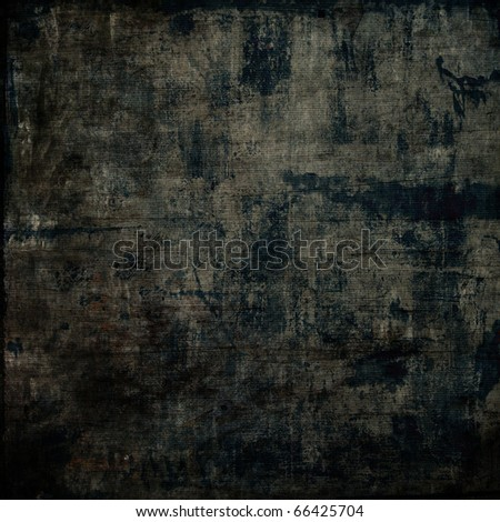 art grunge vintage monochrome parchment textured black background with blots - stock photo