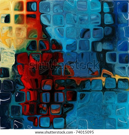 art grunge vintage textured background in blue and red colors, geometric pattern - stock photo