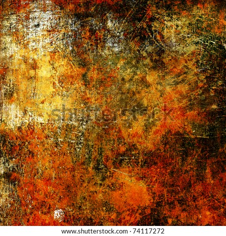 art grunge vintage textured background with bright golden yellow,, orange, red, white and black blots - stock photo
