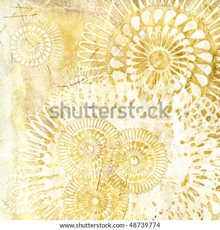 art grunge vintage textured background with stylized geometric flowers in white and yellow colors - stock photo