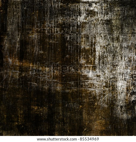 art grunge vintage textured black background with white and brown blots and cracks - stock photo