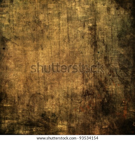 art grunge vintage textured brown background with black blots and lines - stock photo