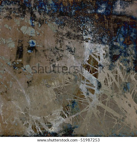 art grunge vintage textured watercolor abstract background in grey, beige, dark blue and brown colors - stock photo