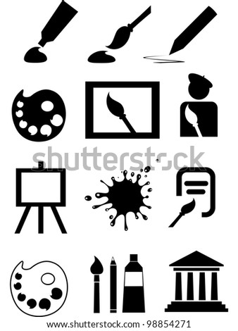 Art icons. Collection of design elements isolated on White background.  illustration - stock photo
