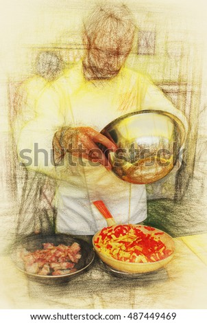Art illustration dishes cooking. Sketch tailgate food- printing on canvas large format will serve as a decoration of the dining room