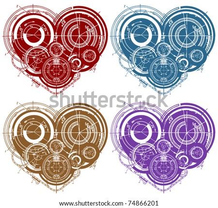 art illustration of hearts with many mechanisms - stock photo