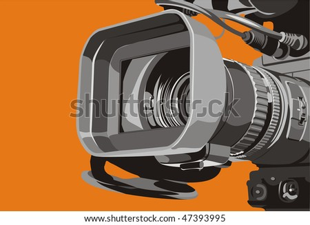 art illustration of tv camcorder in studio - stock photo