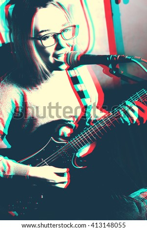 Art illustration of young woman playing electric guitar and singing to the microphone