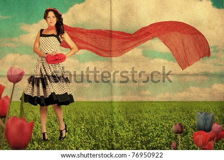 art image, beauty young woman on the meadow with red scarf, vintage collage - stock photo