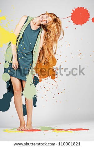 art image with colorful splash, creative - stock photo