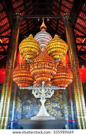 Art in Royal Pavilion (Ho Kum Luang) at Royal Flora Expo, Chiang Mai, Thailand. - stock photo