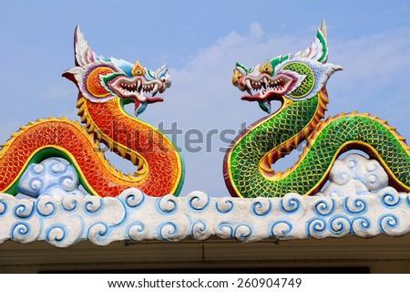 Art in Thai Buddhist Temple - stock photo