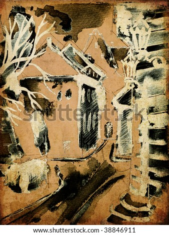art ink and pastel drawing of old historical town on sepia background, 5 of set