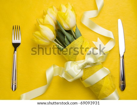 Art invitation to his girlfriend on a date tasty - stock photo
