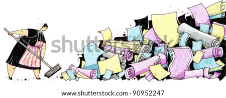 Art is created and painted by photographer. Cleaning lady with a mop. - stock photo