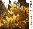 art leaves autumn background card in gold - stock photo