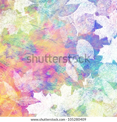 art leaves autumn light watercolor and graphic background card in white, orange, pink, purple, blue and green colors - stock photo