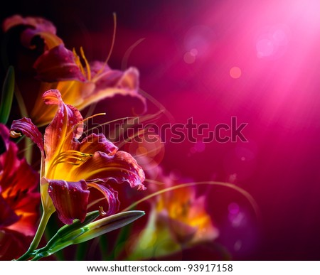 Art Lily Flowers on a red background . valentines day design - stock photo