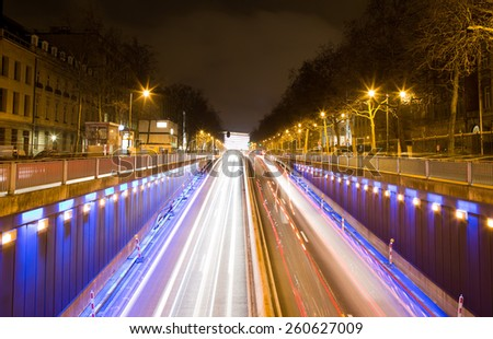 Art Lois tunnel exit in Brussels, Belgium - stock photo