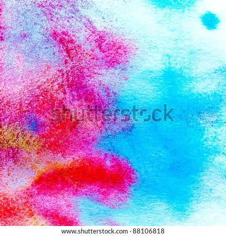 art macro texture red blue watercolors with brush strokes - stock photo