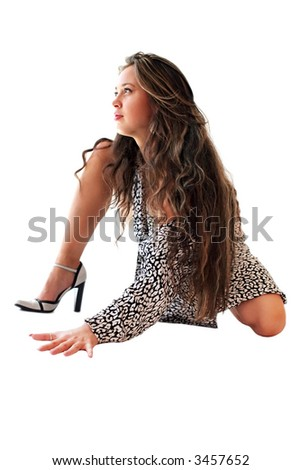 Art model in sensual pose on white background.