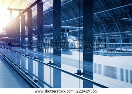 art modern railway station  - stock photo