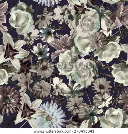 art monochrome vintage floral seamless pattern with grey and white roses, asters, lilies and gerberas isolated on dark blue background  - stock photo