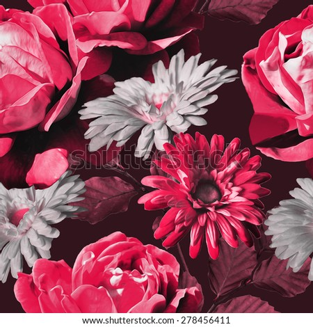 art monochrome vintage floral seamless pattern with red, pink and white roses and gerbera on dark background  - stock photo