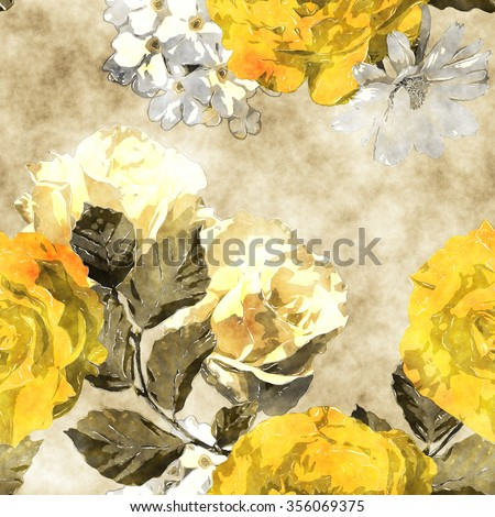 art monochrome watercolor vintage floral seamless pattern with gold yellow and white roses, phlox and asters on beige background - stock photo