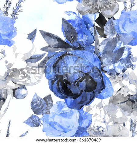 art monochrome watercolor vintage floral seamless pattern with white and blue roses and peonies on white background
