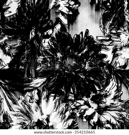 art monochrome white and black vintage watercolor and graphic floral seamless pattern with gerbera isolated on white background